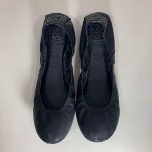 Tory Burch Navy Leather Plain Ballet Flats Size 10